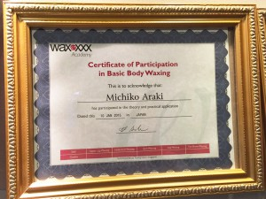 Certificate of Participation in Basic Body Waxing